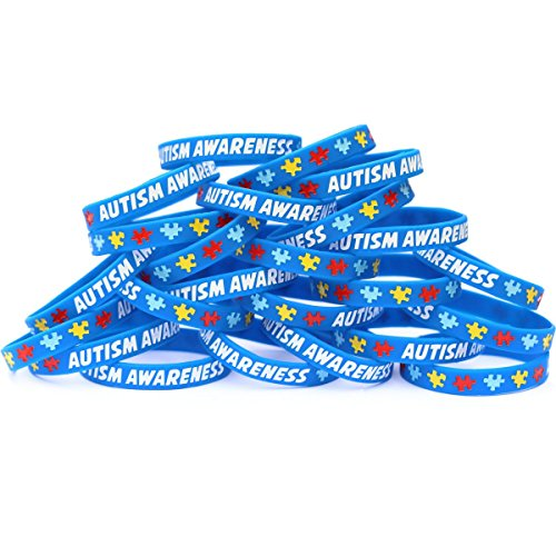 100 Autism Awareness Wristbands - Colorful Puzzle Pieces Silicone Bracelets