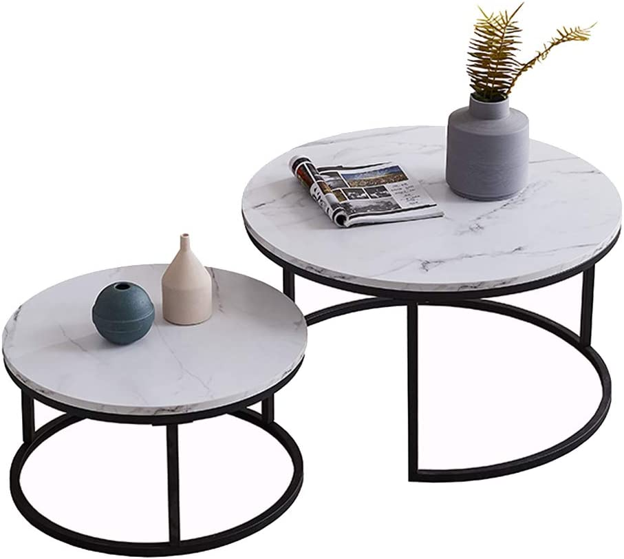 White Marble Wooden Oval Nesting Coffee Tables with Interchangeable Metal Hairpin Legs,Set of 2