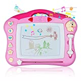 Magnetic Drawing Board - Magna Drawing Doodle Board for Kids Toddlers with Light and Music - Pink
