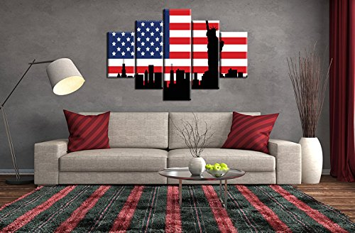 Patriotic Concept American Flag Canvas Large Painting Statue of Liberty Print USA Wall Art Vintage Flag Decor Party Giclee Artwork for Living Room Home Decoration Stretched Framed(60''W x 32''H) (American Statue Flag)