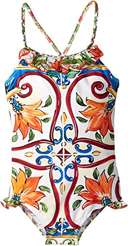 Dolce & Gabbana Kids Baby Girl's Swimsuit One-Piece (Toddler/Little Kids) Maiolica Print 6 by Dolce & Gabbana