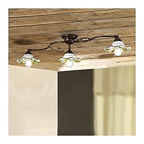Luz de techo lámpara de techo de hierro de 3 luces con ...