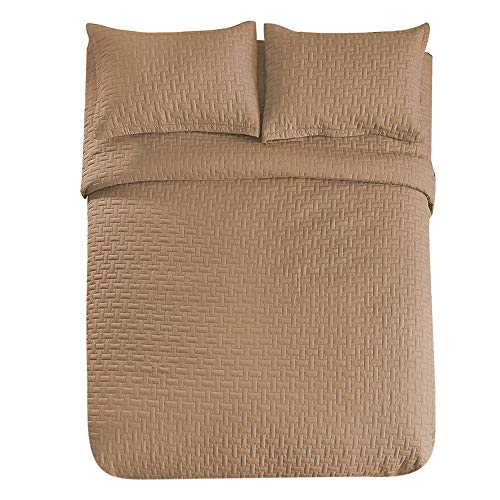 Comfy Basics Prime Bedding Manchester 3-piece Oversized Quilted Bedspread Coverlet Set (Mocha, Queen)