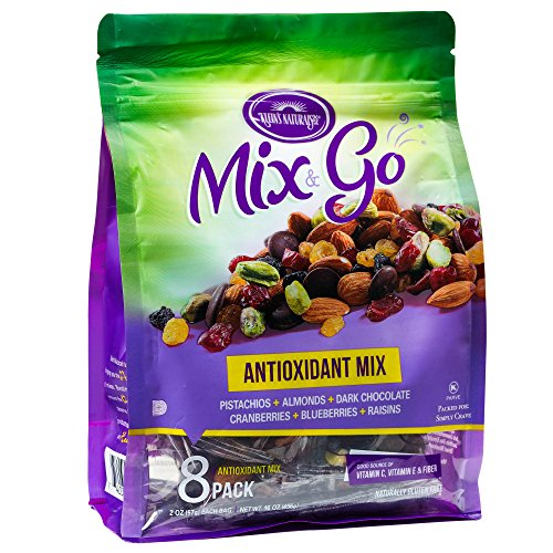 MIX & GO 2 PACK Single Serve Trail Mix Snack Packs, Healthy Snack Bag, Antioxidant Fruit & Nut (contains 16 packs of 2 oz. bags)