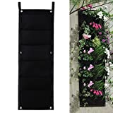 Laz Tipa Pockets Black Hanging Vertical Wall Garden Planter Flower Planting Bags Pot Home Indoor Outdoor Balcony Gardening Seeding