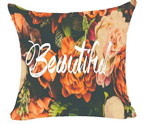 - Color English Words Cartoon Cotton Linen Throw Pillow Case Cushion Cover Home Sofa Decorative 18 X 18 Inch