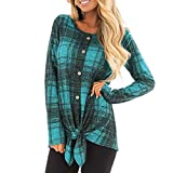 WOCACHI Final Clear Out Womens Plaid Blouses Crew Neck Checkered Shirts Long Sleeve Button Tops Black Friday Cyber Monday Winter Autumn Bottoming Shirts Lattice Knot Hem Tunic Pullover Green