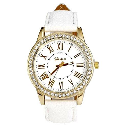 (Pocciol Watch,Rhinestone Quartz Wrist Watch Vogue Women Ladies Fashion Crystal Dial Bracelet Watches (White))