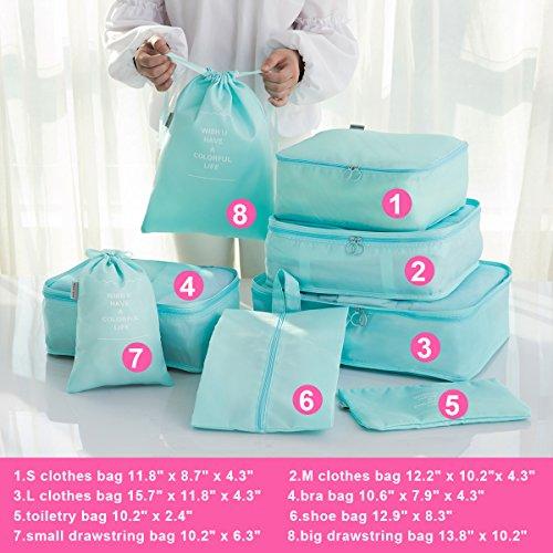 8 pcs Large Packing Cubes Travel Luggage Organizer Set With Shoe Bag (turquoise) by VEETON (Image #2)