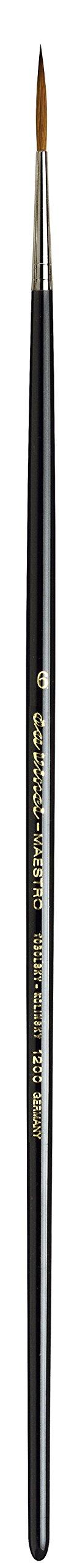 da Vinci Oil & Acrylic Series 1200 Maestro Rigger Brush, Medium-Length Sharp Needle-Point Kolinsky Red Sable with Black Polished Handle, Size 6 by da Vinci Brushes