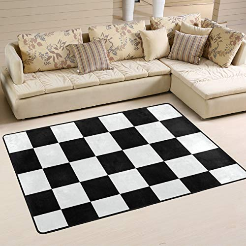 CENHOME Custom Area Rugs Checkerboard Black White Pattern Square Chess Floor Mat Indoor/Outdoor Non Slip Rugs Home Large Entryway Carpet - Area Checker Rug