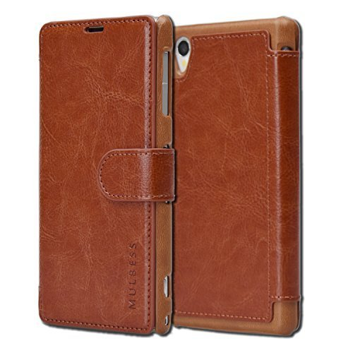 Sony Xperia Z1 Case Wallet - Mulbess [Layered Dandy][Coffee Brown] - [Slim][Wallet Case] - Premium Leather Flip Case With Credit Card Slot for Sony Xperia Z1