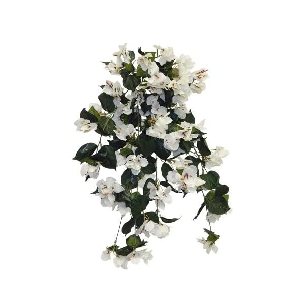 Ella and Lulu 34″ Long Bougainvillea Hanging Bush Greenery, Cream