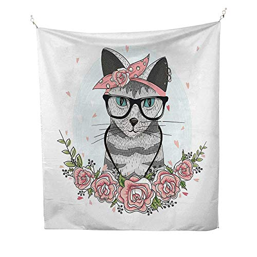 Kittenbeach Tapestry Wall hangingHipster Cool Cat with Spectacles Scarf Necklace Earrings and Flowers Little Hearts 70W x 93L inch Dorm Room - Star Anderson Earrings