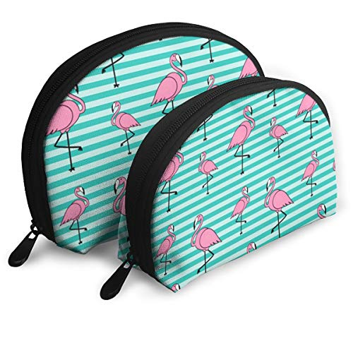 ElephantAN Pink Flamingo Green Pattern Multifunction Shell Portable Bags,Storage Bag,Buggy Bag,Travel Cosmetic Bags,Small Makeup Clutch,Pouch Cosmetic,Toiletries Organizer Bag for $<!--$22.51-->
