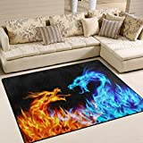 ALAZA Abstract Red Blue Fiery Dragon Area Rug for Living Room Bedroom 5'3 x 4′ Review