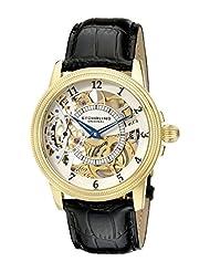 Stuhrling Original Men's Symphony Saturnalia Brumalia Mechanical Skeleton Gold Tone Watch 228.3335K2