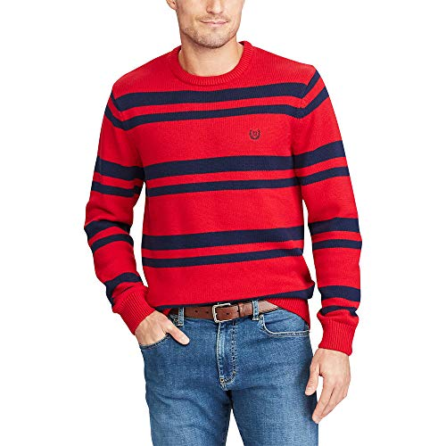 - CHAPS Men Striped Crewneck Long-Sleeve Sweater Red/Nvy L