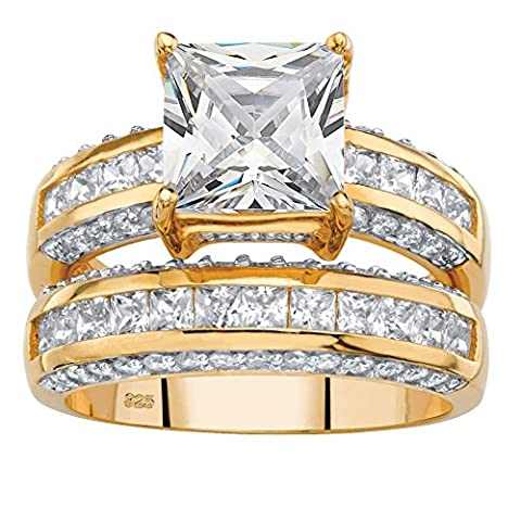 Princess-Cut White Cubic Zirconia 14k Gold over .925 Silver 2-Piece Bridal Ring Set Size 8 (Cubic Zirconia Gold Rings)