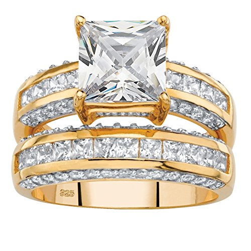 Princess-Cut White Cubic Zirconia 14k Gold over .925 Silver 2-Piece Bridal Ring Set Size 6 (Ring Brilliant Square Cut)