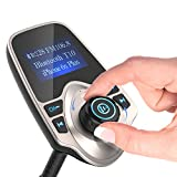 Nulaxy Universal Wireless Bluetooth LED FM Transmitter Car Kit with 1.44-Inch Display and USB Car Charger - Gold