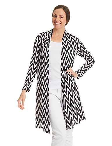 WSK1332 Womens Print Long Sleeve Open Front Long Cardigan S White_Black ()