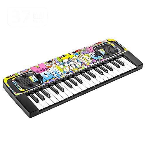 M SANMERSEN Piano Keyboard for Kids, 37 Keys Portable Electronic Piano with Music Book Bracket Musical Toys for 3-8 Years Old Kids, Xmas Birthday Gift for Girls Boys Toddler