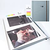 Photo Album - Self-adhesive Album with 5 Colors Sticky Flag, 40 White Inner Pages, Magnetic Paper, Clear PVC Films (sky)