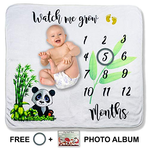 Monthly Baby Milestone Blanket for Pictures + Photo Album - Baby Shower Gift Idea for Boy or Girl - Premium Flannel Fleece Photography Background Blankets for Newborns (43 x 47 inches)