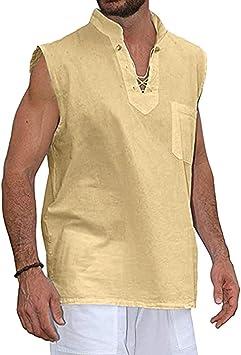 ღLILICATღ Camisa Hombre Cuello Mao Lino Blusa Manga Corta Camisas Top Sin Cuello De Color Sólido Blusas Suelta Camisas De Trabajo Suave Cómodo Transpirable: Amazon.es: Deportes y aire libre