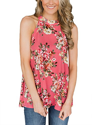 - BLENCOT Women Summer Sleeveless Floral Print Halter High Low Hem Tank Tops Blouses with Back Keyhole Red XL