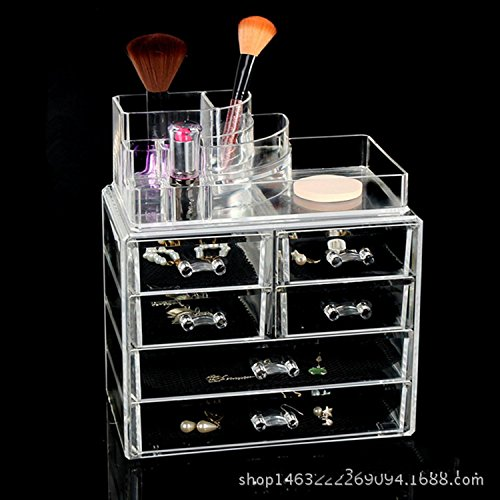 When Love-makeup case 4-layer drawer transparent acrylic lipstick display shelf jewelry box ()