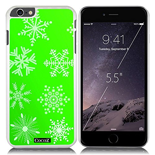 New Apple iPhone 6 s Plus 5.5-inch CocoZ® Case Beautiful Christmas Snow PC Material Case (Green&White PC Snowflake - Mall Mobile Alabama
