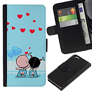 Ihec-Tech / Flip PU Cuero Cover Case para Apple Iphone 6 4.7 - Cute Couple Kiss Love