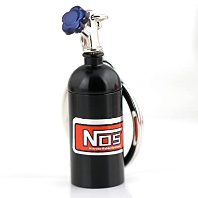 maycom Creative New Black NOS Mini Nitrous Oxide Bottle Keyring Key Chain Ring Keyfob Stash Pill Box Storage Turbo Keychain Black: Automotive