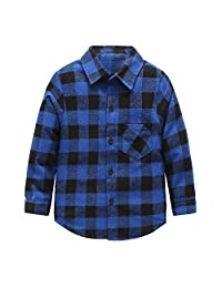 Grandwish Kids Long Sleeve Plaid Flannel Shirt 2T-12