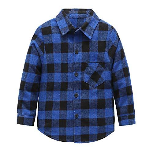 (Kids Long Sleeve Boy's Girl's Plaid Flannel Shirt Blue)