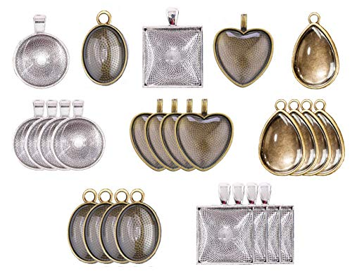 - Jashem Pendant Trays 48pcs Glass Cabochon Dome Setting Round Square Heart Teardrop Jewelry Bezel Vintage Bronze Pendant Base for Photo Earrings Necklace Craft Jewelry Making 4 Styles 25mm