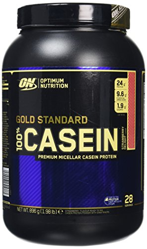 Optimum Nutrition Gold Standard Casein Protein Powder with Glutamine and Amino Acids, Protein Shake by ON - Strawberry Delight, 28 Servings, 909 g