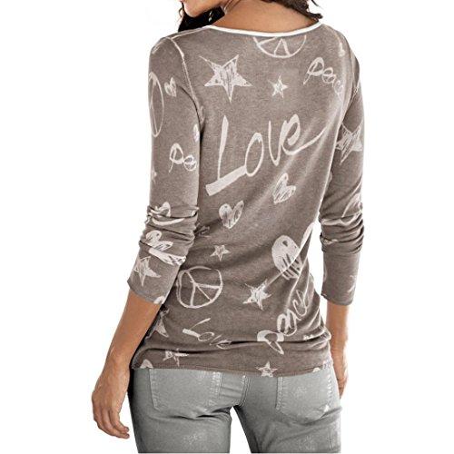MagliaTops Caffè Donna Elegante Lunga Camicia Stampa Rcool Camicetta Maglietta Love Shirt T Manica Fiore FluK3JcT1