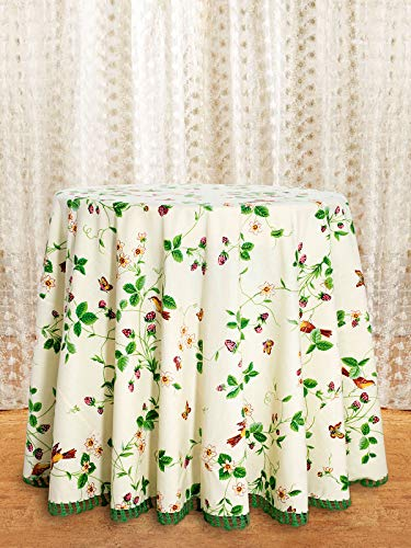 (April Cornell Cream Strawberry Fields Crochet Trim 88 Inch Round 100% Cotton Tablecloth - Seat 4-6)
