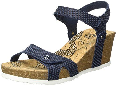 Panama Jack Dames Julia Slang Open Sandalen Met Sleehak Blauw (marine)