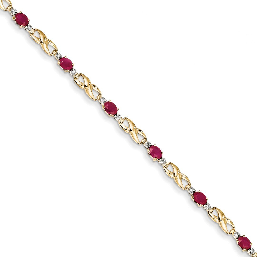 ICE CARATS 14k Yellow Gold Diamond Composite Red Ruby Oval Bracelet 7 Inch Infinity Gemstone Fine Jewelry Gift Set For Women Heart