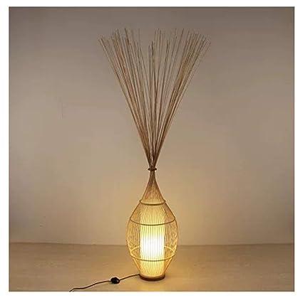 THOR-BEI Lámpara de pie Lámpara de pie de bambú Sala de ...