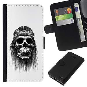 KLONGSHOP // Tirón de la caja Cartera de cuero con ranuras para tarjetas - Hippie Paz del cráneo Negro fumadores - LG OPTIMUS L90 //