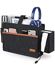 Dewsshine Felt Bedside Caddy Hanging Storage Organized, Bed Sofa Storage Organizer Nightstand with Pocket for TV Remote Control, Phones,Magazines, Accessories