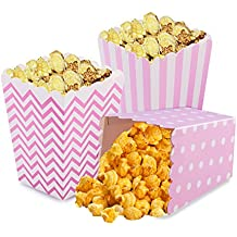 Popcorn Boxes, NUIBY Pink Trio (36 Pack) Polka Dot, Chevron, Stripe Treat Boxes - Small Movie Theater Popcorn Paper Bags for Dessert Tables & Wedding Favors