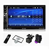 CarThree Double Din Car Stereo Bluetooth Radio Video Player, 7-Inch HD 1024x600 Car Radio Touch Screen, Bluetooth Car Stereo Support FM Android Phone Mirror Link Backup Camera