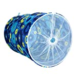 Blu Monaco Foldable Round Laundry Hamper Basket with Handles and Drawstring -Fabric Closet Storage Bag - Blue -Organization with Unique Style - Keep your Laundry Room, Closet, and Home Organized