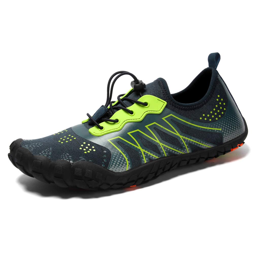 SITAILE TAILE Men Women Water Shoes Quick Dry Aqua Camp Shoes for Beach Walking River Bed Boatting Kayaking Blue Green Size 10